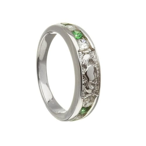 CZ Stone Set Claddagh Eternity Ring