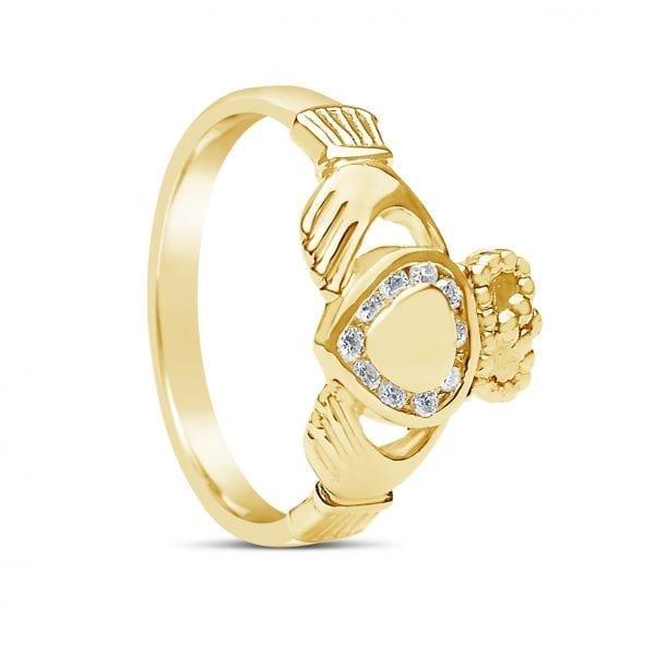 Diamond & Gold Heart Claddagh Ring
