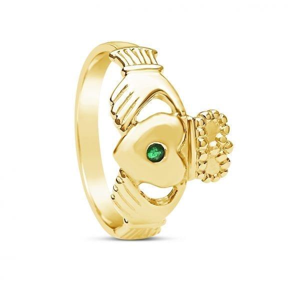 Gents Emerald Claddagh Ring