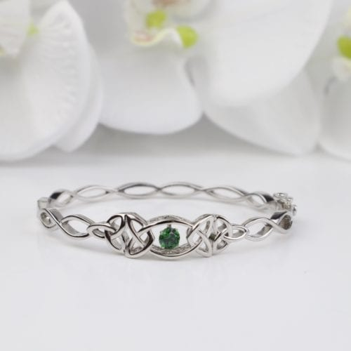 Trinity Dancing Green Stone Bangle