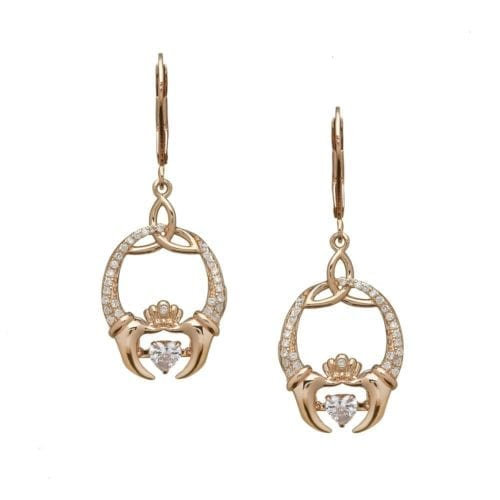Rose Gold Claddagh & Trinity Earrings
