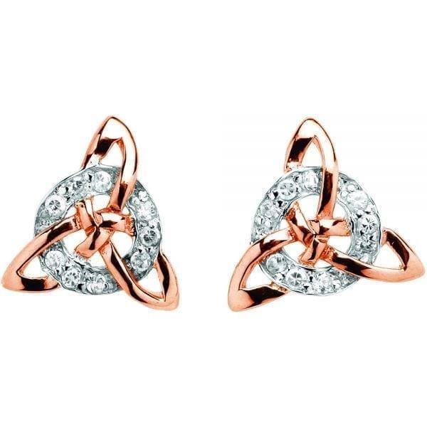 Silver Earrings Celtic Trinity Circle Stone Set