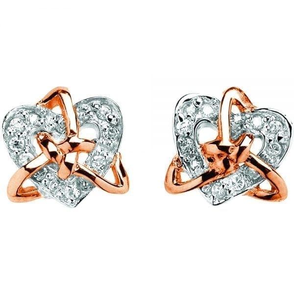 Silver Earrings Celtic Trinity Heart Stone Set