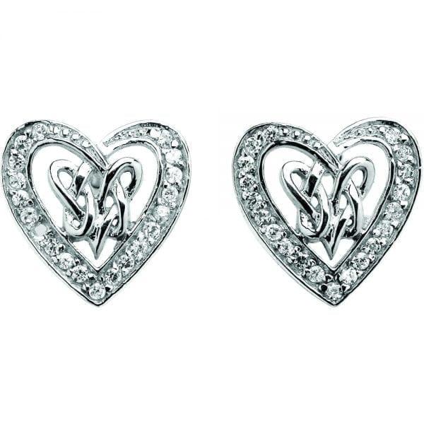 Silver Earrings Pave Double Heart