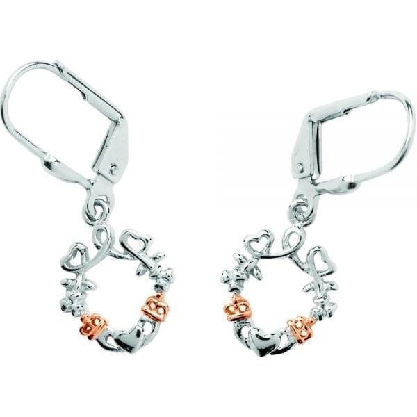 Silver Earrings Heart Shamrock Claddagh