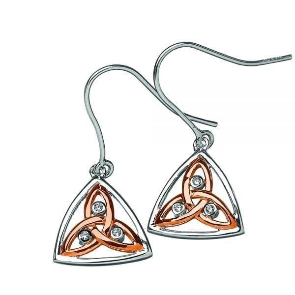 Silver Earrings Contemporary Stone Set Trinity