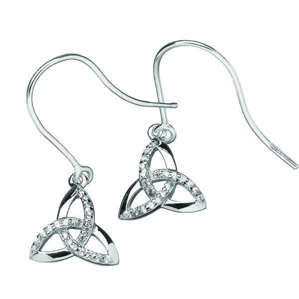 Silver Earrings Argent Stone Set Trinity