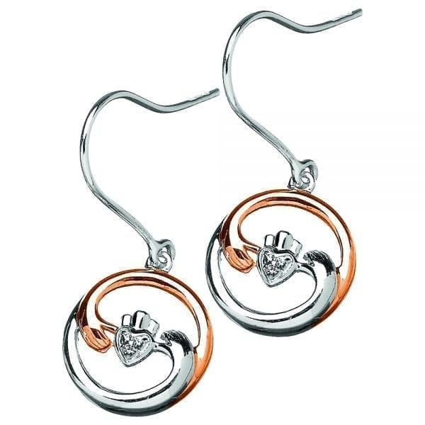 Silver Earrings Diamond Set Claddagh Harmony