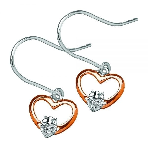 Silver Claddagh Heart Earrings