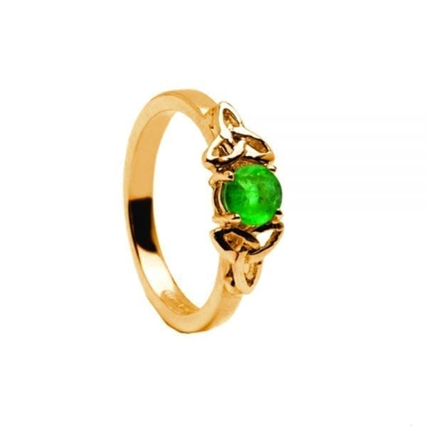 Emerald 14K Yellow Gold Ring with Yellow Gold Trinity