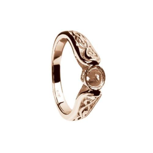 14K White Gold Ring Mount Only-LeCheile