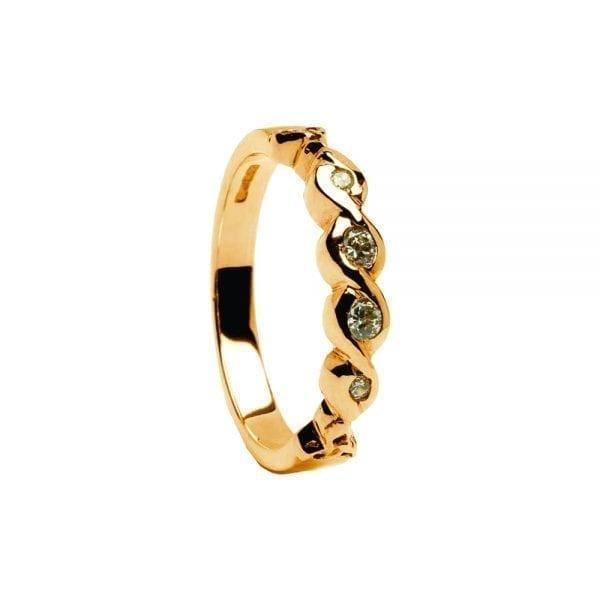 14K Gold Ring Diamond Set Celtic Eternity