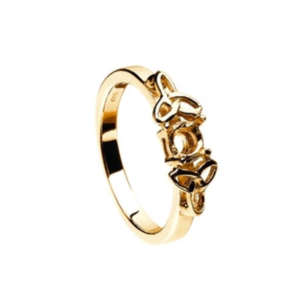 Mount Only 14K Yellow Gold Ring with Yellow Gold Trinity