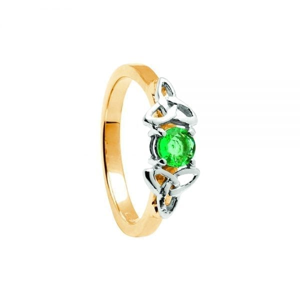 Emerald 14K Yellow Gold Ring with White Gold Trinity