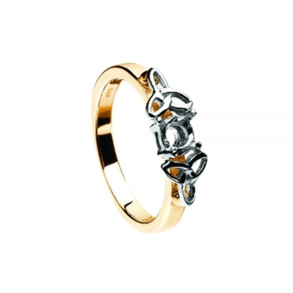 Mount Only 14K Yellow Gold Ring with White Gold Trinity