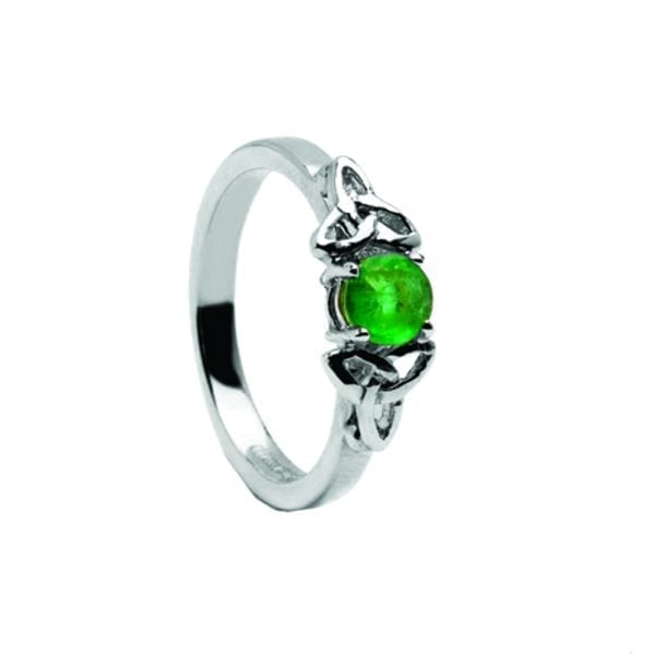 Emerald 14K White Gold Ring with White Gold Trinity