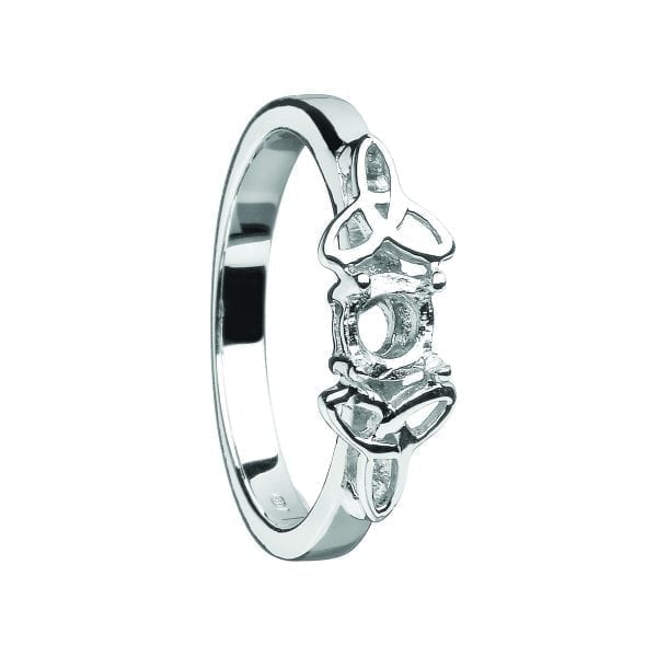 Mount Only 14K White Gold Ring with White Gold Trinity