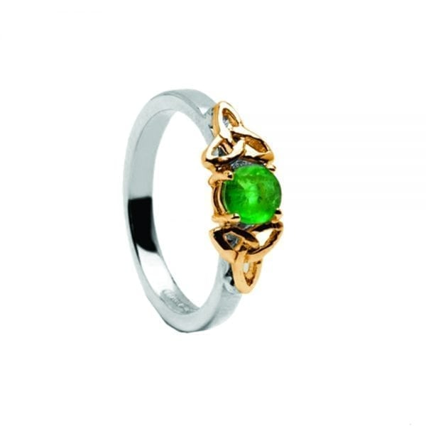 Emerald 14K White Gold Ring with Yellow Gold Trinity