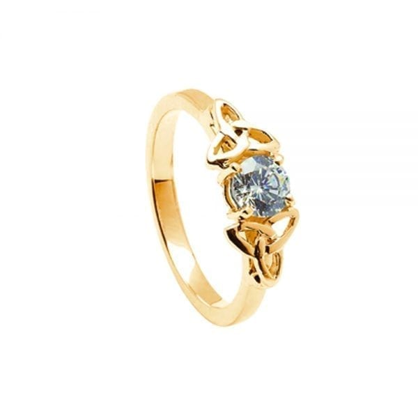Diamond 14K Yellow Gold Ring with Yellow Gold Trinity