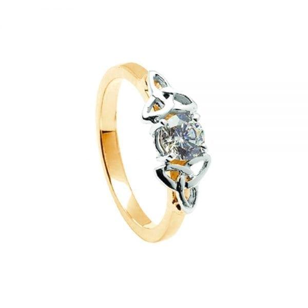 Diamond 14K Yellow Gold Ring with White Gold Trinity