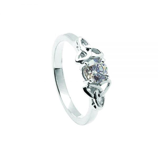 Diamond 14K White Gold Ring with White Gold Trinity