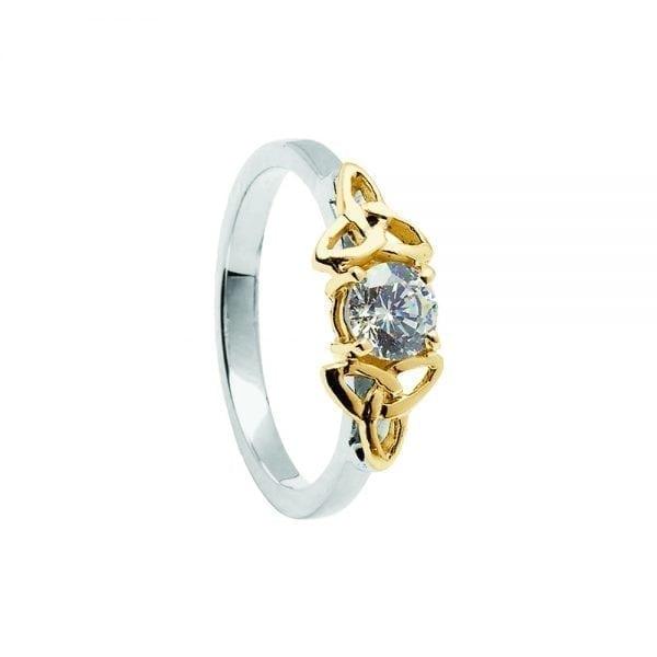 Diamond 14K White Gold Ring with Yellow Gold Trinity