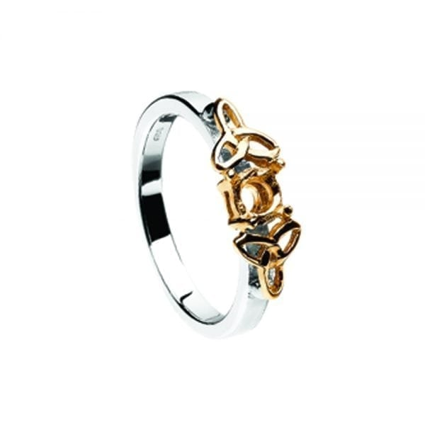 Mount Only 14K White Gold Ring with Yellow Gold Trinity