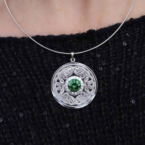 Celtic Warrior Necklace with Emerald and Clear CZ Stones