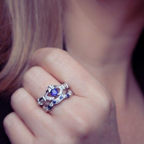 Sapphire & Diamond Claddagh Set