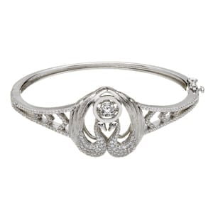 Legend of Lir Silver Bangle with Clear CZ Eyes