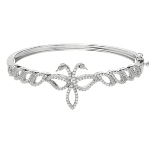 Legend of Lir Silver Contemporary Bangle with Clear CZ Eyes