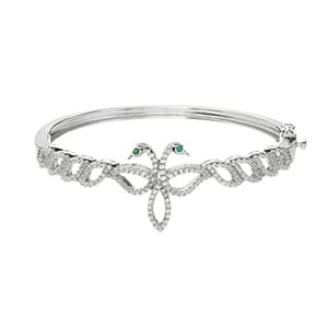 Legend of Lir Silver Contemporary Bangle with Green CZ Eyes