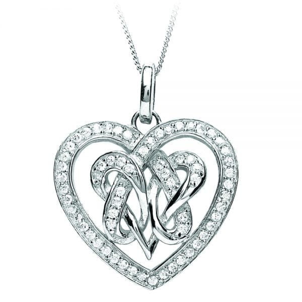Double Heart Silver Pendant
