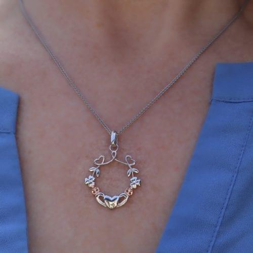 Claddagh-Heart-Shamrock-Pendant