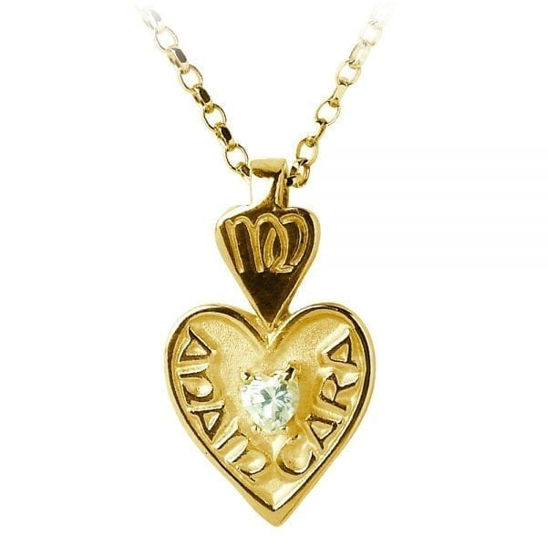 Heart Shaped Mo Anam Cara Pendant with Cubic Zirconia