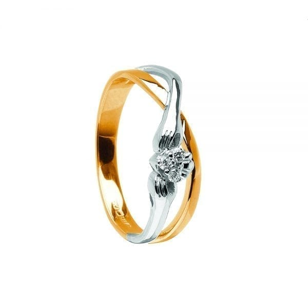 Two Tone Interwoven Claddagh Ring