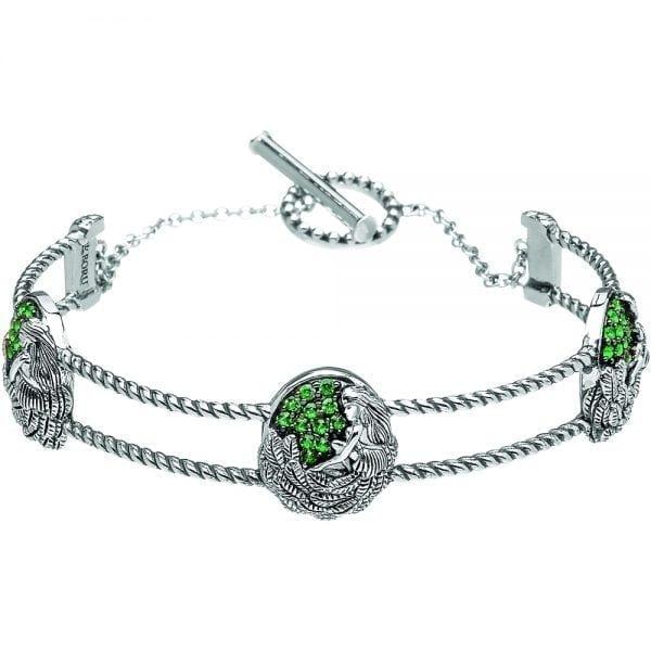 Silver Bangle Danu with Green CZ
