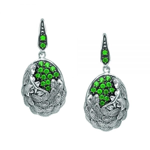 Silver Earrings Danu with Green CZ