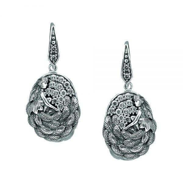 Silver Earrings Danu with White CZ