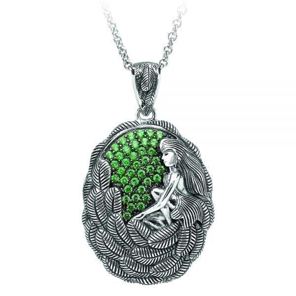 Silver Pendant Danu with Green CZ-Small