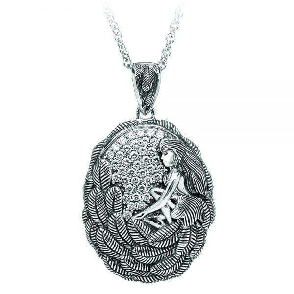 Silver Pendant Danu with White CZ-Small