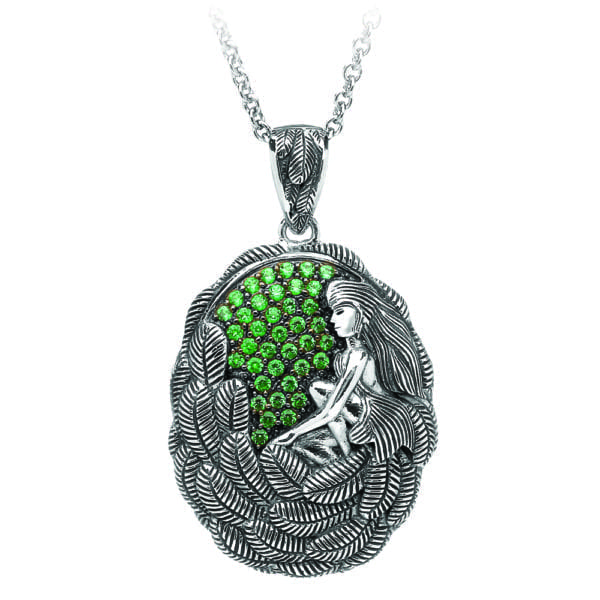Silver Pendant Danu with Green CZ-Large