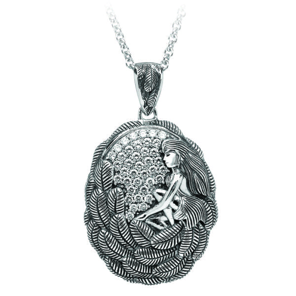 Silver Pendant Danu with White CZ-Large