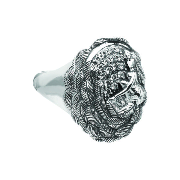 Silver Ring Danu with White CZ