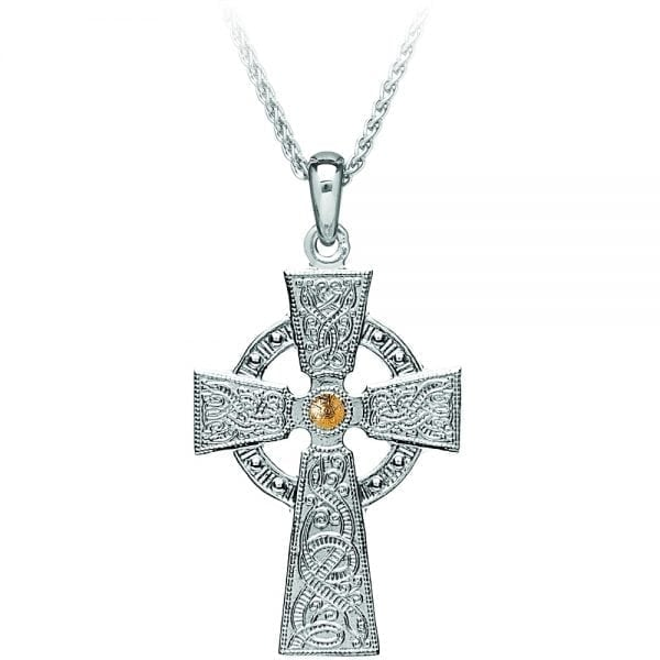 Silver Cross Celtic Warrior <sup></noscript>®</sup> – Medium with Yellow Gold Plated Bead