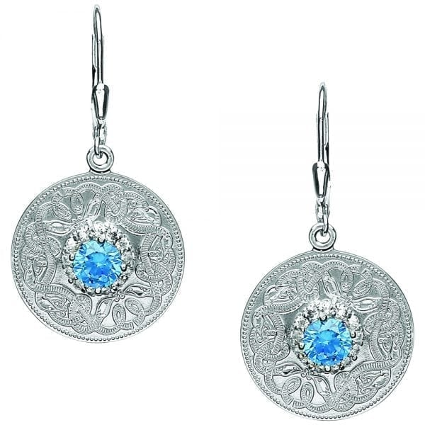 Swiss Blue Celtic Warrior Earrings