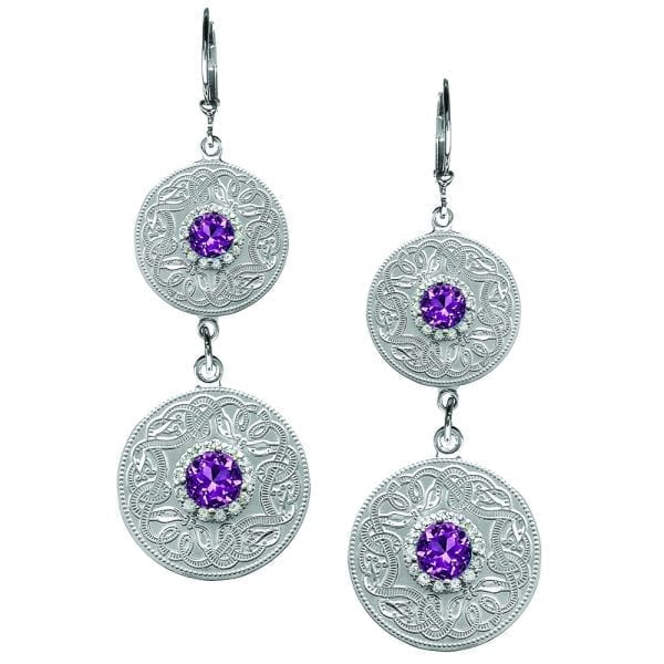 Amethyst Celtic Warrior Double Earrings