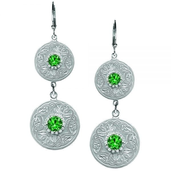 Emerald Celtic Warrior Double Earrings