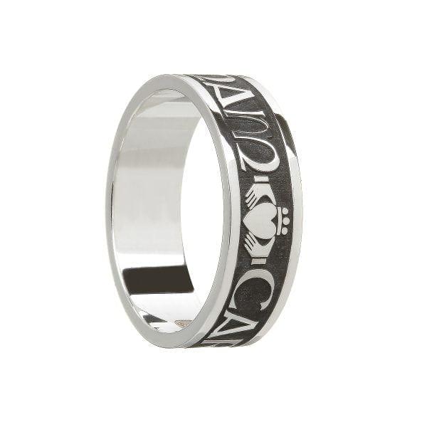 Silver Gents Mo Anam Cara-Oxidised Finish Wedding Ring