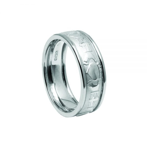 Silvery Court Shaped Claddagh Ring with Trims
